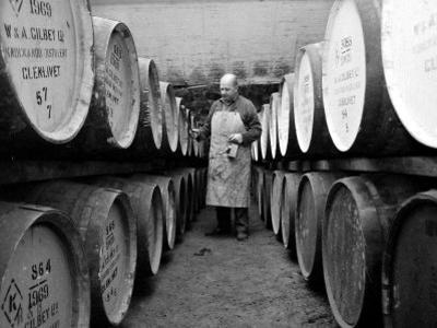 An Employee of the Knockando Whisky Distillery in Scotland, January 1972