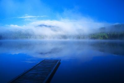 An Empty Dock on a Calm Misty Lake-John Alves-Photographic Print