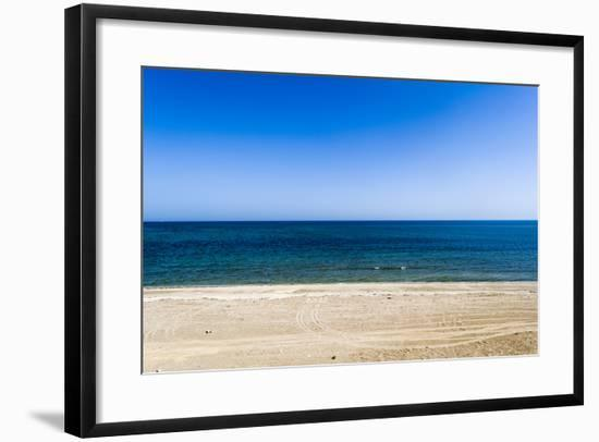 An Empty, Flat Sandy Beach Overlooks the Blue Seas of the Gulf of Oman-Jason Edwards-Framed Photographic Print