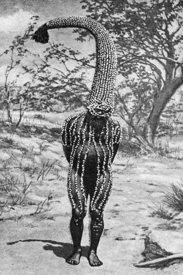 An Emu Man Performing the Sacred Totem of His Group, Australia, 1922- Spencer and Gillen-Giclee Print