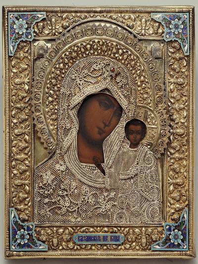An Enamel and Silver-Gilt Icon of the Virgin Kazanskaya, the Oklad Marked Moscow, 1899-1908--Giclee Print