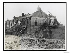 An End-Of-Terrace in Surrey Virtually Obliterated after a German Air Raid