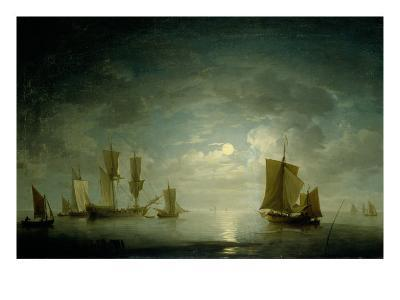 An English Frigate and Coastal Craft Becalmed by Moonlight-Charles Brooking-Giclee Print