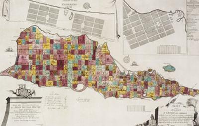 An engraved map of St Croix (Santa Cruz), 1754