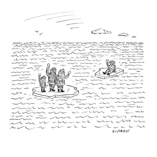 An Eskimo man floats away from his family. Both are on small bits of ice. - New Yorker Cartoon-David Sipress-Premium Giclee Print