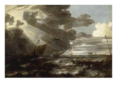 An Estuary Scene in a Gale, with Fishermen hauling in a Fixed Line-Bonaventura Peeters-Giclee Print