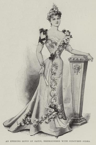 An Evening Gown of Satin, Embroidered with Coloured Silks--Giclee Print
