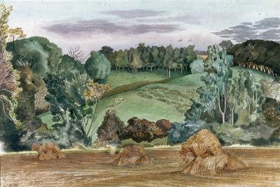 An Evening Landscape with Corn Stooks-John Northcote Nash-Giclee Print