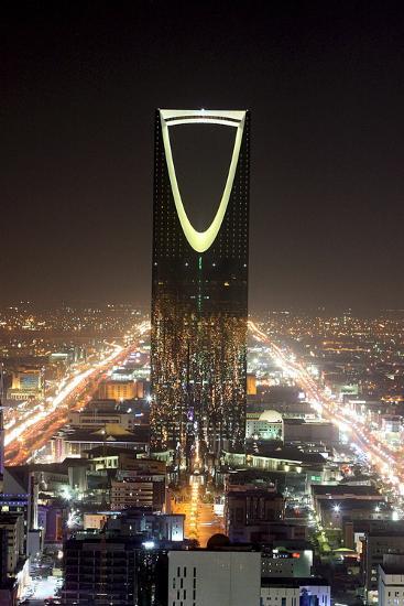 An Evening View of the Kingdom Tower in Saudi Arabian Capital Riyadh-Jamal Nasrallah-Photographic Print