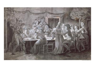 An Evening Wedding Meal-Jacques Bertaux-Giclee Print