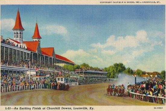 'An Exciting Finish at Churchill Downs, Louisville, Ky', c1940-Unknown-Giclee Print