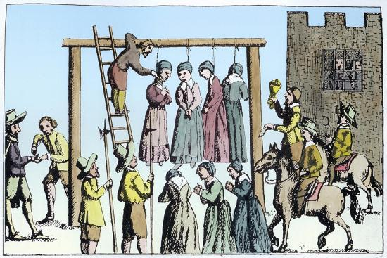 An execution of witches in England, 17th century-Unknown-Giclee Print