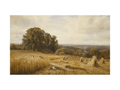 An Extensive Landscape with Harvesters-Edmund George Warren-Giclee Print