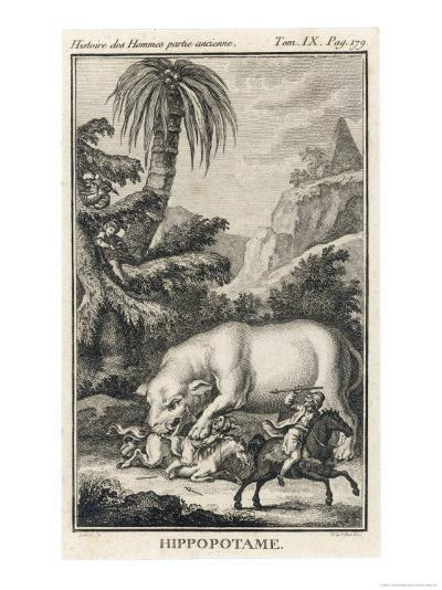 An Extraordinary Depiction of a Hippopotamus Savaging Hunters in an Exotic Landscape-G. Duclos-Giclee Print
