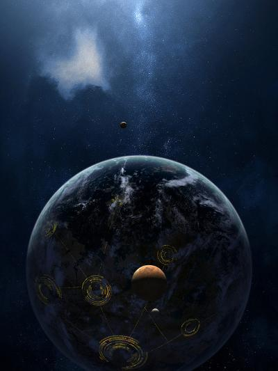 An Extraterrestrial Civilization Has Lit the Night Side of its Planet-Stocktrek Images-Photographic Print