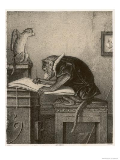 An Extremely Talented Aspiring Monkey Artist Sketches a Less Fortunate Fellow Monkey- Pirodon-Giclee Print