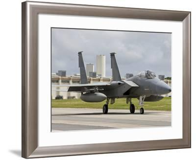 An F-15 Eagle Taxi's To the End of Runway at Kadena Air Base, Japan-Stocktrek Images-Framed Photographic Print