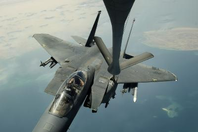 An F-15E Strike Eagle Receives Fuel from a Kc-135R Stratotanker--Photographic Print
