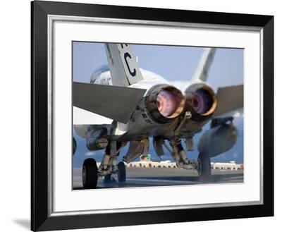 An F/A-18A+ Hornet Launches Off the Flight Deck of USS Harry S. Truman-Stocktrek Images-Framed Photographic Print