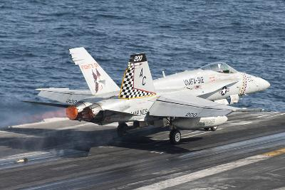 An F-A-18C Hornet Launches from USS Harry S. Truman--Photographic Print