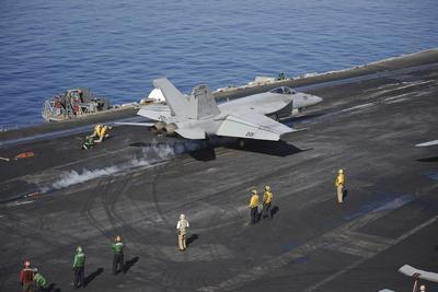 An F-A-18E Super Hornet Launches from USS Nimitz--Photographic Print
