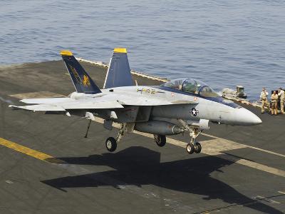An F/A-18E Super Hornet Trap Landing on the Flight Deck of USS Harry S. Truman-Stocktrek Images-Photographic Print