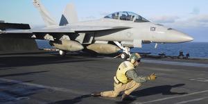 An F-A-18F Super Hornet Prepares to Launch from the Flight Deck of USS Nimitz