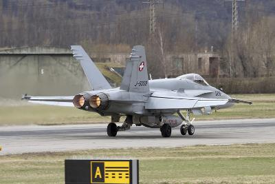 An FA-18 Hornet of the Swiss Air Force on the Runway-Stocktrek Images-Photographic Print