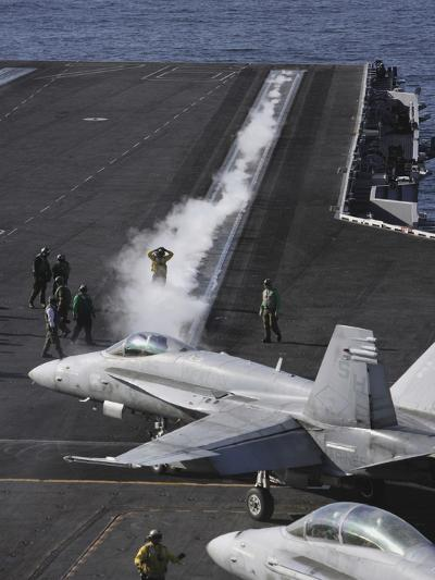 An FA-18D Hornet Taxis To the Catapult Aboard the Aircraft Carrier USS Ronald Reagan-Stocktrek Images-Photographic Print