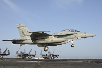 An FA-18E Super Hornet Makes an Arrested Landing Aboard an Aircraft Carrier-Stocktrek Images-Photographic Print