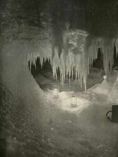'An Ice Cavern in the Winter. Photographed by the Light of Hurricane Lamps', c1908, (1909)-Unknown-Photographic Print