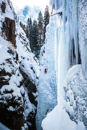 An Ice Climber Ascends A Route In Ouray, Colorado-Dan Holz-Photographic Print