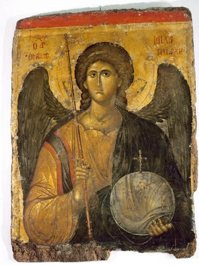 An Icon with the Image of the Archangel St Michael Holding a Staff and a Globe Surmounted by the?--Giclee Print