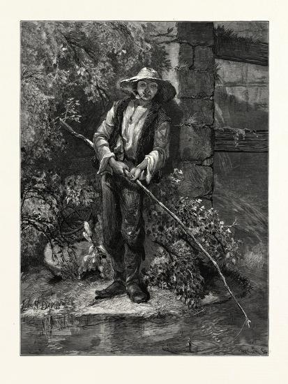 An Idle Dog. Fishing, Stream, Outdoors, Romantic, John S. Davis, Printer--Giclee Print