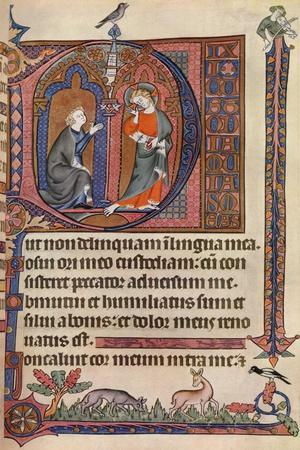 An Illuminated Page from the Vaux-Bardolf Psalter, C1310, (1937)--Giclee Print