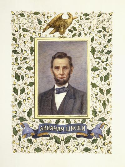 An Illuminated Page with a Miniature Portrait of Abraham Lincoln, 1928-Alberto Sangorski-Giclee Print