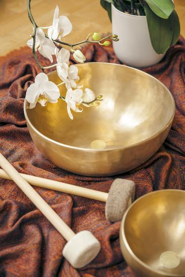 An Image of Some Singing Bowls and a White Orchid-magann-Photographic Print