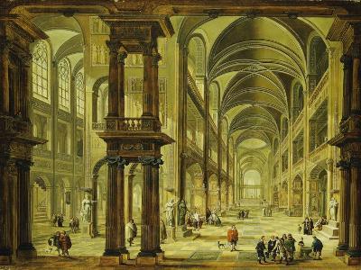 An Imaginary Church Interior with Figures-Christian Stocklin-Giclee Print