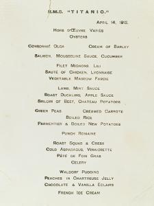 An Important First Class Passenger Menu from the R.M.S. Titanic, Cafe Parisien
