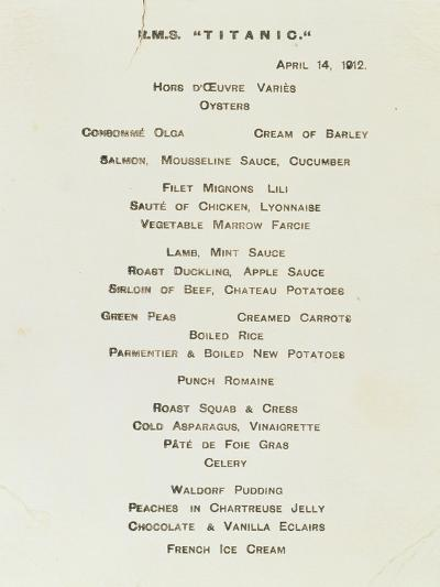 An Important First Class Passenger Menu from the R.M.S. Titanic, Cafe Parisien--Giclee Print
