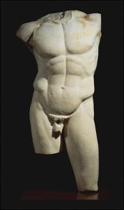 An Important Roman Marble Torso of the Diadumenos of Polykeitos