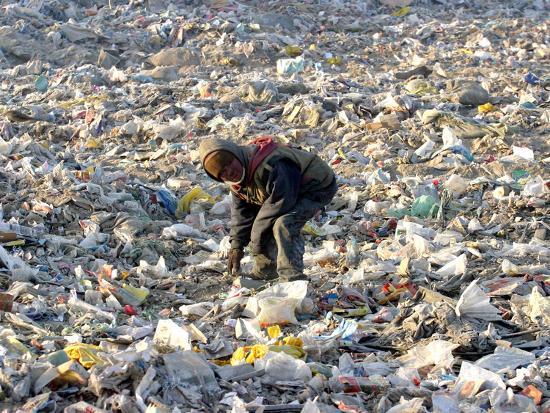 An Impoverished Mongolian Man Sorts Through Garbage at an Ulan Bator Dump--Photographic Print
