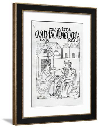 An Inca Asks a Spaniard What He Eats, He Replies 'Gold' (Woodcut)-Felipe Huaman Poma De Ayala-Framed Giclee Print
