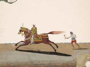 An Indian Noble Riding a Horse with an Attendant Behind, from Thanjavur, India