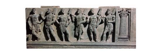 An indian sculpture of a group of marine deities, 1st century-Unknown-Giclee Print