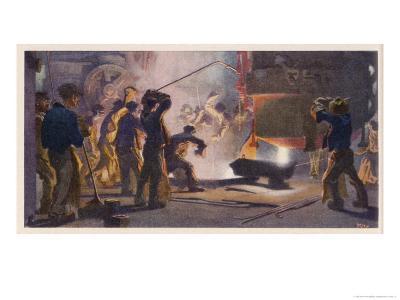 An Interior View of Krupps' Steelworks Ruhr-Heinrich Kley-Giclee Print