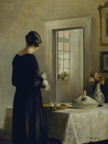 An Interior with a Woman at a Table-Carl Holsoe-Giclee Print