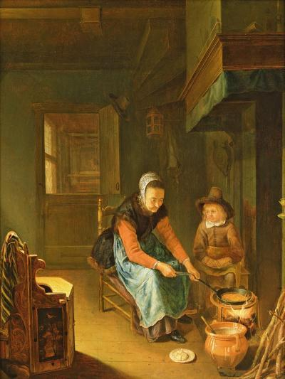 An Interior with a Woman Cooking Pancakes with a Young Boy before a Hearth-Pieter van Slingelandt-Giclee Print