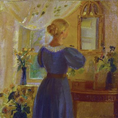 An Interior with a Woman Looking in a Mirror, 1900-Michael Peter Ancher-Giclee Print