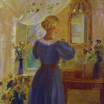 An Interior with a Woman Looking in a Mirror-Anna Kirstine Ancher-Giclee Print